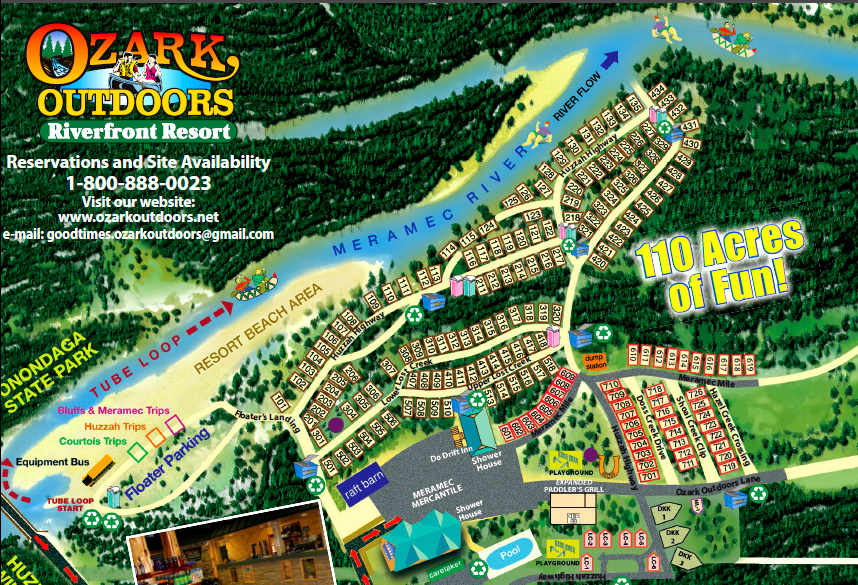 Ozark Outdoors Campground Map Ozark Outdoors Riverfront