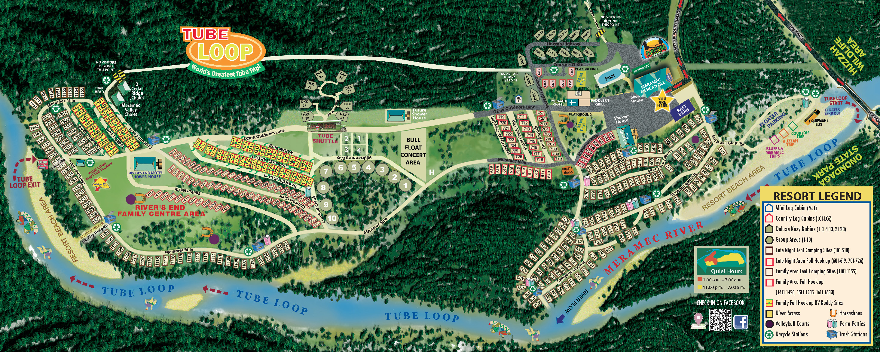 2017 Ozark Outdoors Riverfront Resort Campground Map
