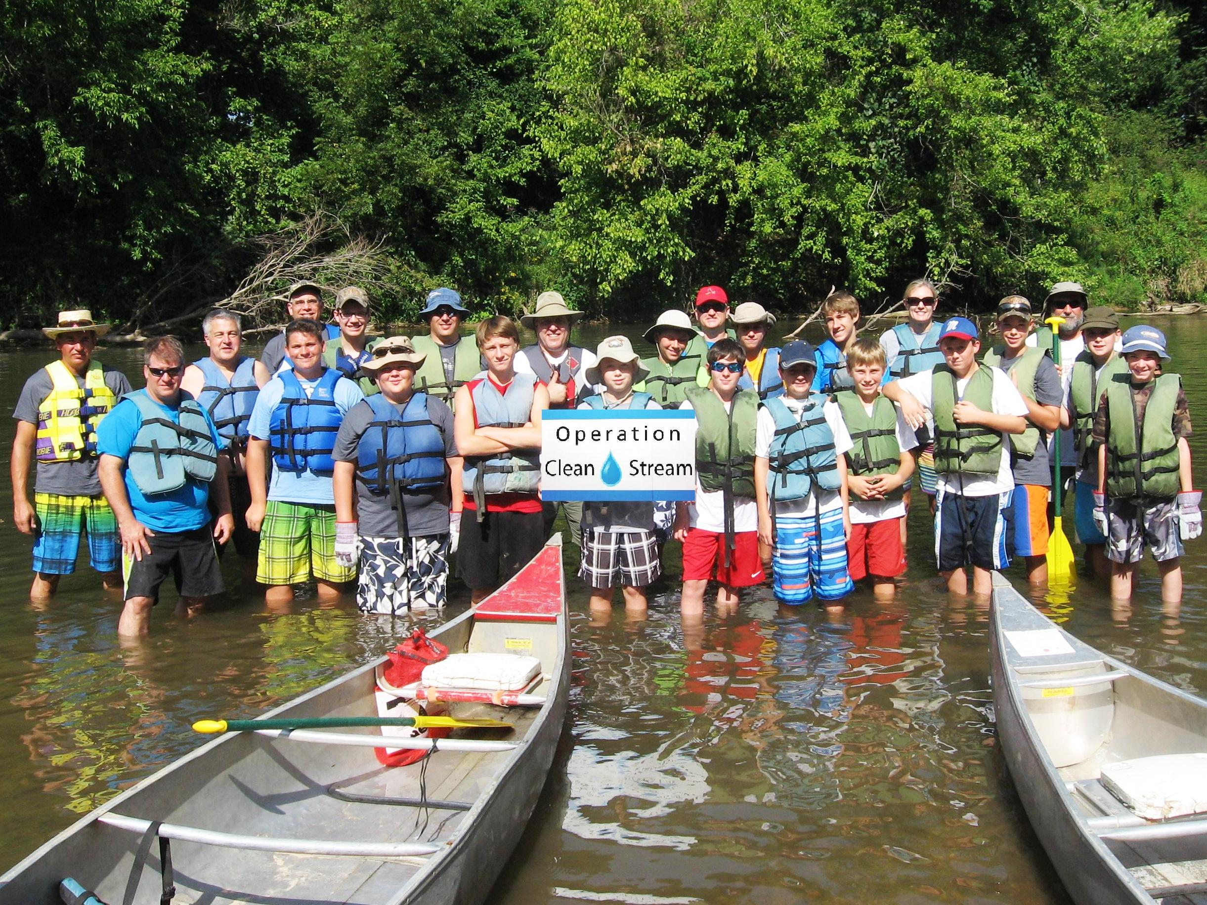Whole group in water with canoes ozark outdoors for Missouri fishing license walmart