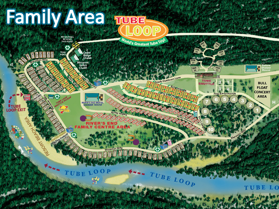 Ozark Outdoors Family Area Campground Map